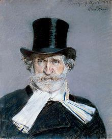 Portrait de Giuseppe Verdi à l'écharpe blanche et haut-de-forme (1886) par Giovanni Boldini.